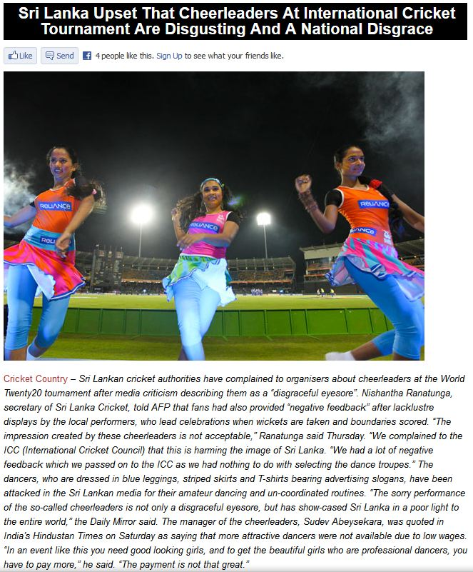 Sri Lanka Upset With Their Own Cheerleaders At The World